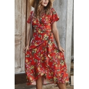 Amazing Women's Short Sleeve Surplice Neck Tied Waist All-Over Flower Printed Long Wrap Flowy Dress