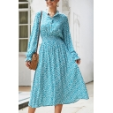 Simple Chic Long Sleeve Lapel Collar Button Front All Over Flower Print Long A-Line Dress in Blue