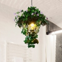 Kerosene Lamp/Cylinder Restaurant Ceiling Light Retro Metal 1 Head Green LED Drop Pendant with Plant Decor