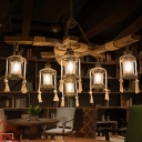 6 Lights Dining Room Island Lighting Warehouse Wood Pendant with Kerosene Clear Glass Shade