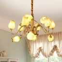 Gold 12 Heads Chandelier Lighting Traditionalism Frosted Glass Sputnik Pendant Ceiling Light for Living Room