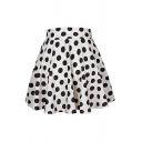 Cute Pretty Elastic Waist Polka Dot Printed Mini Pleated A-Line Skirt for Girls