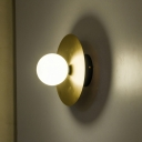 Metal Circular Wall Lighting Contemporary 1 Head Gold Sconce Light Fixture with White Glass Shade