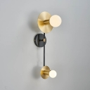 2 Bulbs Round Wall Lighting Modernist Metal Sconce Light Fixture in Gold with White Glass Shade
