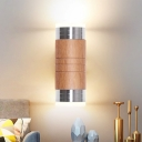 1 Head Living Room Sconce Light Chinese Chrome Wall Mounted Lamp with Tube Wood Shade