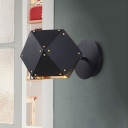Black Geometric Wall Lighting Modernist 1 Bulb Metal Sconce Light Fixture for Dining Room