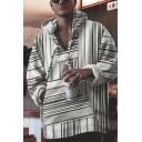 Men's Popular Stripe Printed Long Sleeves Loose Fit White Baja Hoodie