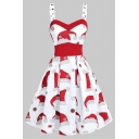 Cute Fancy Sleeveless Sweetheart Neck Eyelet Strap All Over Christmas Hat Print Midi Pleated Flared Dress for Girls
