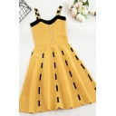 Yellow Pretty Sleeveless Button Front Color Block Knit Short Pleated A-Line Cami Dress for Girls