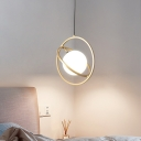 Gold Circular Pendant Lamp Minimalism 1 Head Metal Ceiling Hanging Light for Dining Room