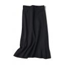 Elegant Women's High Waist Ruffle Trim Knit Plain Long Fishtail Skirt
