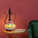 1 Light Teapot Shape Table Lamp Art Deco Copper Stained Glass Night Light for Bedroom
