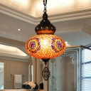 Oval Stained Glass Suspension Lighting Art Deco 1 Head Restaurant Hanging Ceiling Lamp in Orange