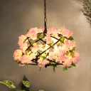 Industrial Bird Nest Ceiling Chandelier 3 Bulbs Metal LED Hanging Light Fixture in Pink with Cherry Blossom