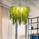 Industrial Plant Ceiling Chandelier 3 Bulbs Metal Hanging Light Fixture in Green for Restaurant