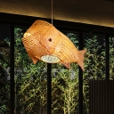 1 Head Restaurant Hanging Lamp Asian Beige Pendant Light Fixture with Fish Bamboo Shade