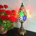 1 Light Nightstand Light Art Deco Teardrop Red/Orange Stained Glass Shade Table Lamp for Coffee Shop
