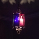 Traditional Incense Burner Pendant 1 Light Metal Suspended Lamp in Brass with Colorful Glass Shade