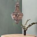 Brass Basket Empire Chandelier Traditional Metal 3 Heads Living Room Ceiling Hang Fixture
