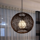 1 Bulb Spherical Hanging Light Chinese Rattan Suspended Lighting Fixture in Coffee