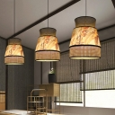 1 Bulb Restaurant Hanging Lamp Asian Beige Ceiling Pendant Light with Flared Rattan Shade