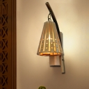 Japanese 1 Head Sconce Light Beige Tapered Wall Mounted Lighting with Wood Shade