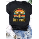 Popular Letter BEE KIND Printed Round Neck Curved Short Sleeve Graphic T-Shirt