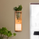 1 Head Cylinder Wall Sconce Industrial Wood Opal Glass LED Wall Light Fixture without Plant for Living Room