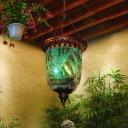2 Lights Chandelier Lighting Traditional Jar Shaped Blue Glass Hanging Ceiling Lamp for Balcony
