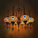 Stained Glass Oval Ceiling Chandelier Art Deco 9 Bulbs Restaurant Pendant Lamp in White/Yellow/Gold