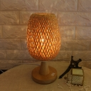 Beige Basket Task Light Japanese 1 Head Bamboo Desk Lamp with Circular Wood Base