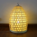 1 Head Hand Twisted Desk Lamp Chinese Bamboo Task Lighting in Beige for Living Room