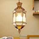 1 Head Metal Ceiling Lamp Traditional Brass Lantern Living Room Pendant Lighting Fixture