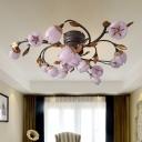 Nickle 15 Heads Semi Flush Light Vintage Metal Floral LED Ceiling Fixture for Living Room