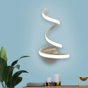 Contemporary LED Sconce White Spiral Wall Mounted Light Fixture with Acrylic Shade