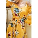 Pretty Ladies' Bell Sleeve Cold Shoulder Tied Waist All Over Floral Printed Midi A-Line Wrap Dress in Yellow