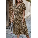 Trendy Street Khaki Short Sleeve V-Neck Button Down Leopard Printed Long A-Line Dress for Women