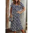 Chic Pretty Ladies' Short Sleeve V-Neck Ruffle Trim All Over Floral Print Long A-Line Dress