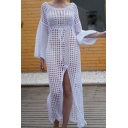 Designer Ladies' White Bell Sleeve Round Neck Tied Waist High Cut Front See-Through Fishnet Maxi Shift Dress