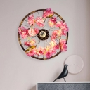 Metal Ring Sconce Light Industrial LED Restaurant Wall Lighting in Brass with Cherry Blossom, 12.5