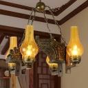 Vintage Vase Ceiling Chandelier 4 Lights Amber Crackle Glass Pendant Lighting in Bronze