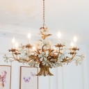 Retro Candle Chandelier Lighting Fixture 8 Heads Metal Pendant Ceiling Light with Flower Decor in Brass