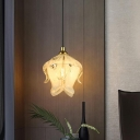 Traditional Blossom Hanging Pendant 1 Head Clear Crystal Suspended Lighting Fixture for Bedroom