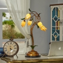 Brass Blossom LED Table Lamp Vintage Amber Glass 5 Lights Study Room Nightstand Light