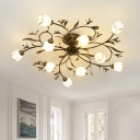 White Glass Brass Ceiling Flush Flower 10 Heads Traditional Semi Mount Lighting for Bedroom