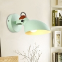 Green Wide Flare Wall Lighting Contemporary 1 Head Metal Sconce Light Fixture for Bedside
