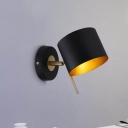 Black Drum Wall Lamp Modern 1 Head Metal Sconce Light Fixture with Adjustable Arm
