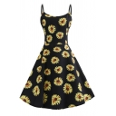 Pretty Black Sleeveless Zip Back All Over Sunflower Print Mid Pleated Swing Cami Dress for Women
