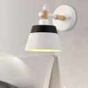1 Head Living Room Sconce Macaron Pink/White Wall Mount Light Fixture with Conical Metal Shade