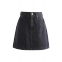 Cool Girls' High Rise Zipper Front Mini Plain A-Line Denim Skirt